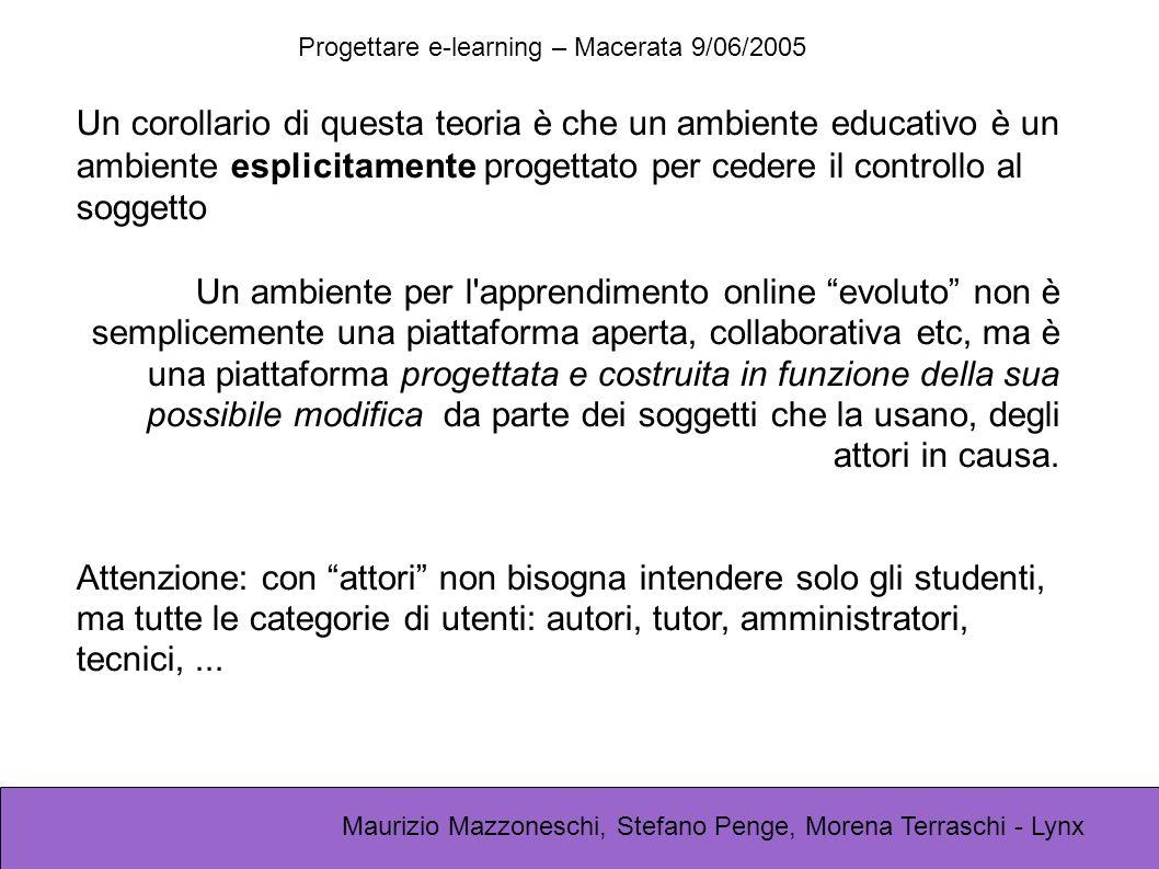 Progettare e-learning – Macerata 9/06/2005 Maurizio Mazzoneschi, Stefano Penge, Morena Terraschi - Lynx Un corollario di questa teoria è che un ambiente educativo è un ambiente esplicitamente progettato per cedere il controllo al soggetto Un ambiente per l apprendimento online evoluto non è semplicemente una piattaforma aperta, collaborativa etc, ma è una piattaforma progettata e costruita in funzione della sua possibile modifica da parte dei soggetti che la usano, degli attori in causa.