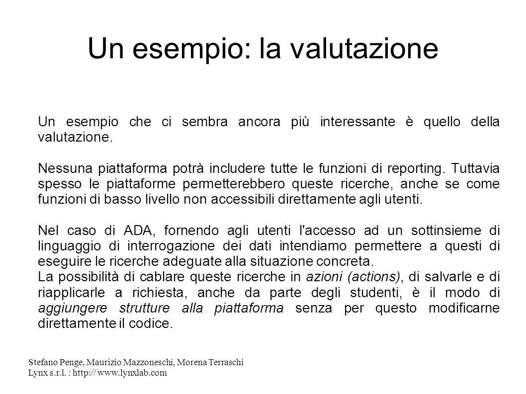 Stefano Penge, Maurizio Mazzoneschi, Morena Terraschi Lynx s.r.l. : http:// www.lynxlab.com Un esempio: la valutazione Un esempio che ci sembra ancora