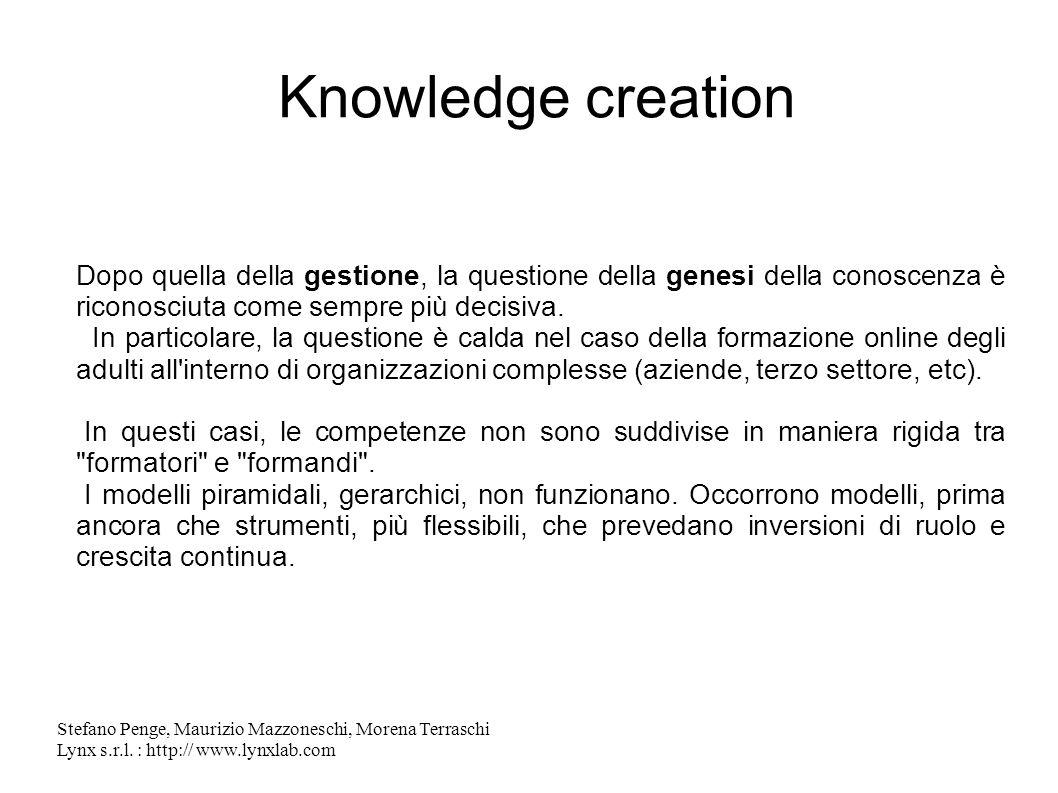 Stefano Penge, Maurizio Mazzoneschi, Morena Terraschi Lynx s.r.l. : http:// www.lynxlab.com Knowledge creation Dopo quella della gestione, la question