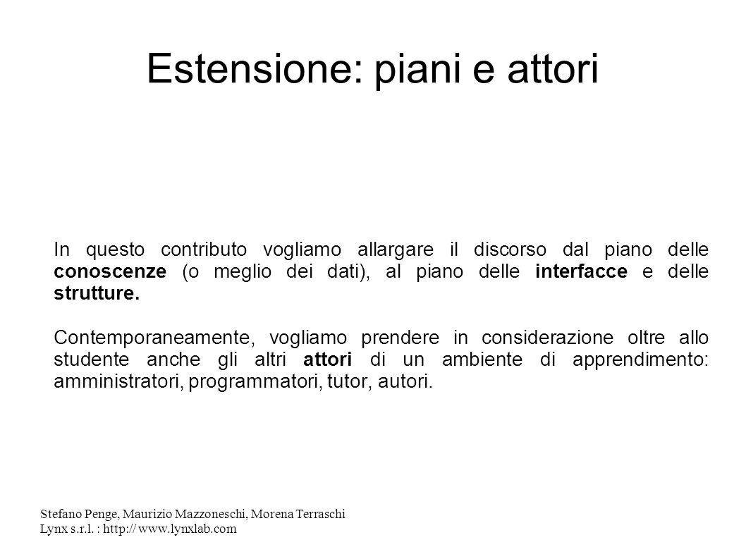 Stefano Penge, Maurizio Mazzoneschi, Morena Terraschi Lynx s.r.l. : http:// www.lynxlab.com Estensione: piani e attori In questo contributo vogliamo a