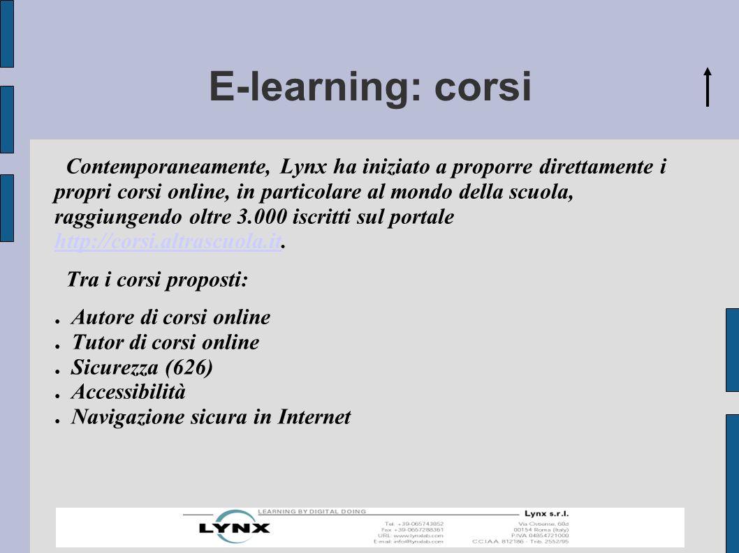 E-learning: corsi Contemporaneamente, Lynx ha iniziato a proporre direttamente i propri corsi online, in particolare al mondo della scuola, raggiungendo oltre 3.000 iscritti sul portale http://corsi.altrascuola.it.