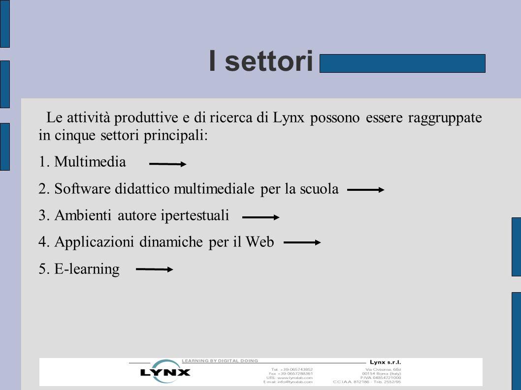 I settori Le attività produttive e di ricerca di Lynx possono essere raggruppate in cinque settori principali: 1.