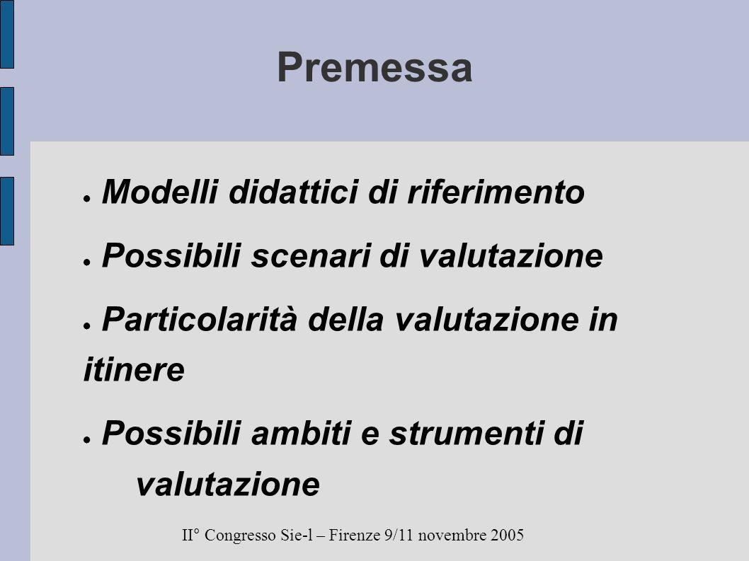 Premessa Modelli didattici di riferimento Possibili scenari di valutazione Particolarità della valutazione in itinere Possibili ambiti e strumenti di valutazione II° Congresso Sie-l – Firenze 9/11 novembre 2005