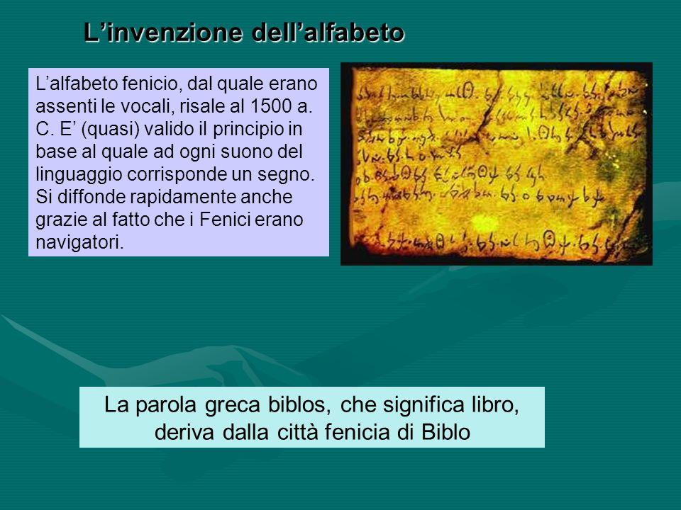 Linvenzione dellalfabeto Lalfabeto fenicio, dal quale erano assenti le vocali, risale al 1500 a. C. E (quasi) valido il principio in base al quale ad