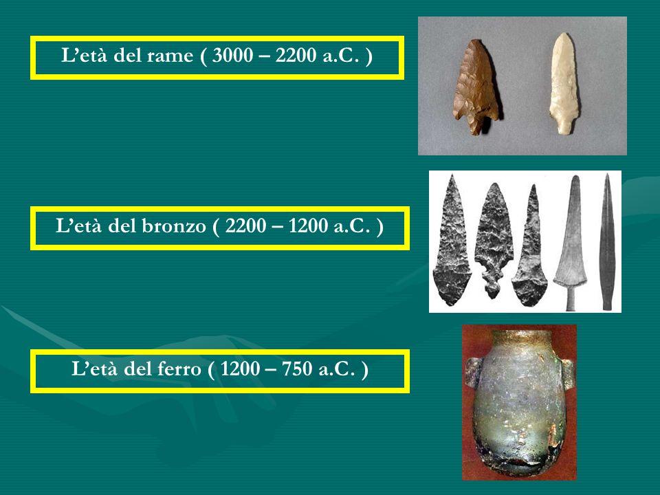 Letà del rame ( 3000 – 2200 a.C. ) Letà del bronzo ( 2200 – 1200 a.C. ) Letà del ferro ( 1200 – 750 a.C. )