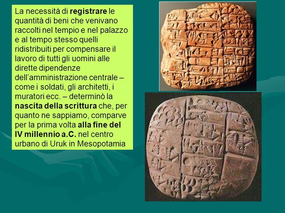 Con i Sumeri nasce la scrittura Nasce la città La scrittura fu inventata in Mesopotamia alla fine del IV millennio E una creazione del tutto originale.