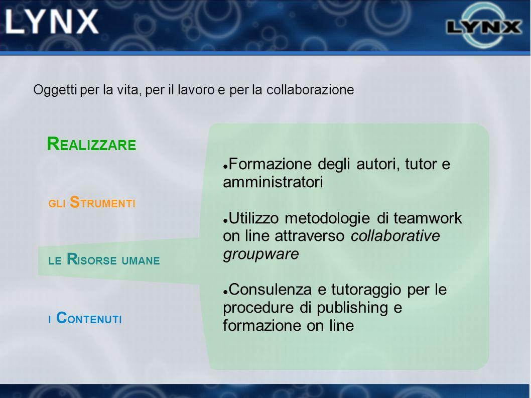Formazione degli autori, tutor e amministratori Utilizzo metodologie di teamwork on line attraverso collaborative groupware Consulenza e tutoraggio pe