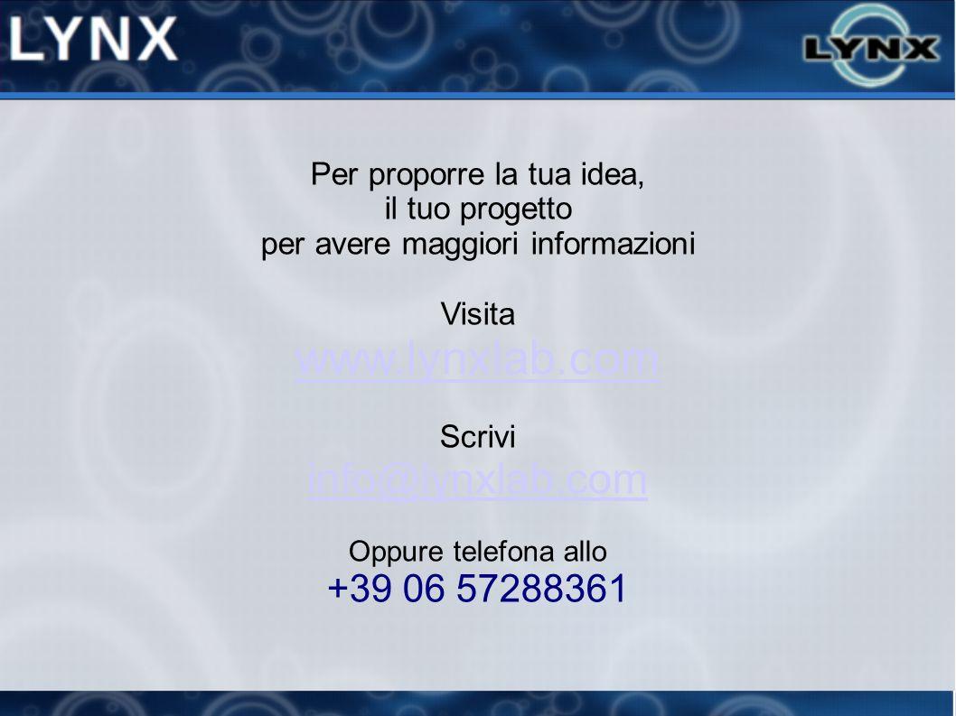 Per proporre la tua idea, il tuo progetto per avere maggiori informazioni Visita www.lynxlab.com Scrivi info@lynxlab.com Oppure telefona allo +39 06 5