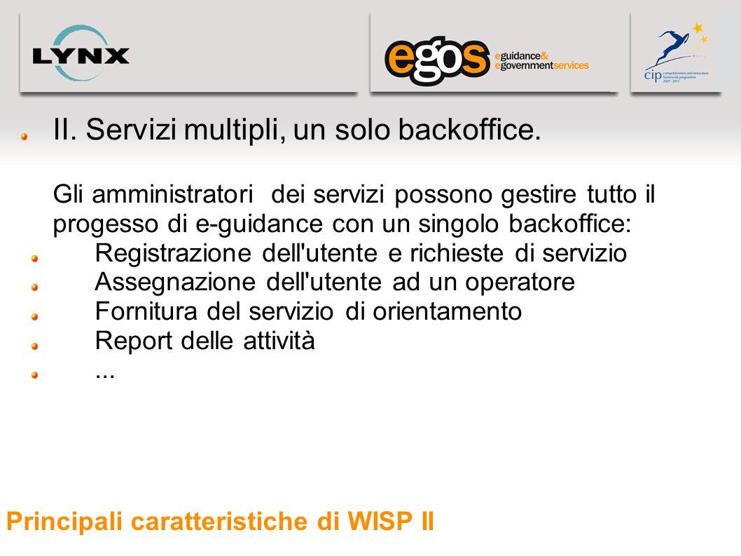 Principali caratteristiche di WISP II II. Servizi multipli, un solo backoffice. Gli amministratori dei servizi possono gestire tutto il progesso di e-