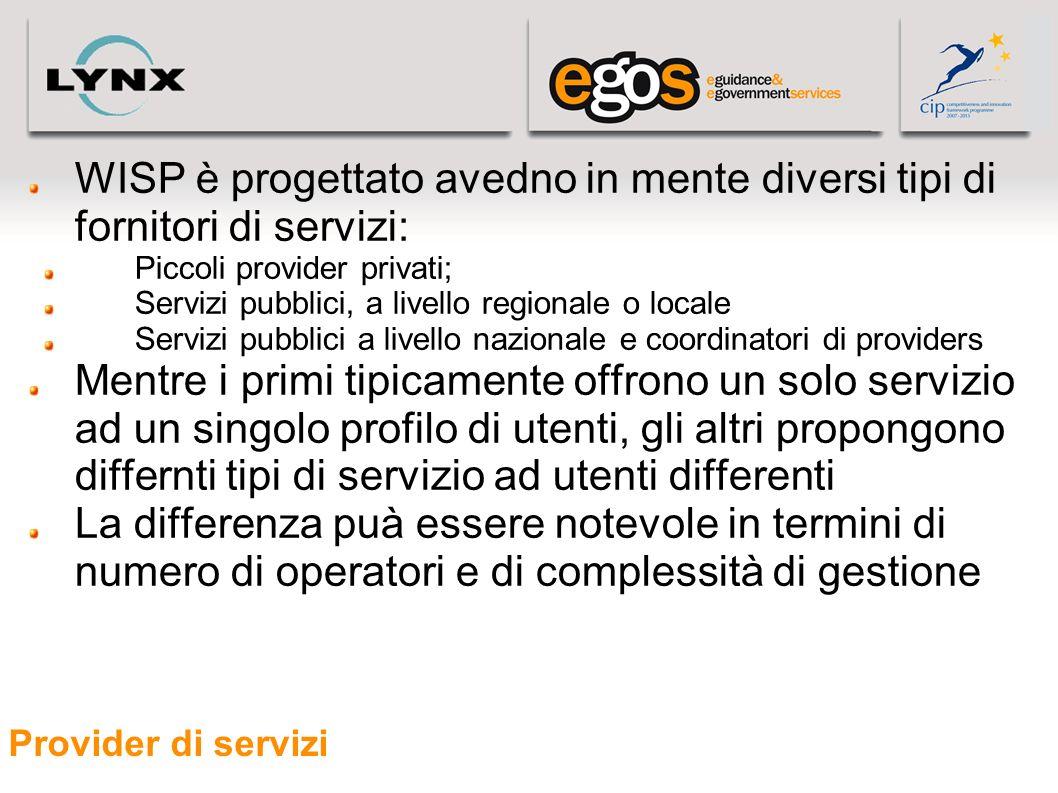 Provider di servizi WISP è progettato avedno in mente diversi tipi di fornitori di servizi: Piccoli provider privati; Servizi pubblici, a livello regi