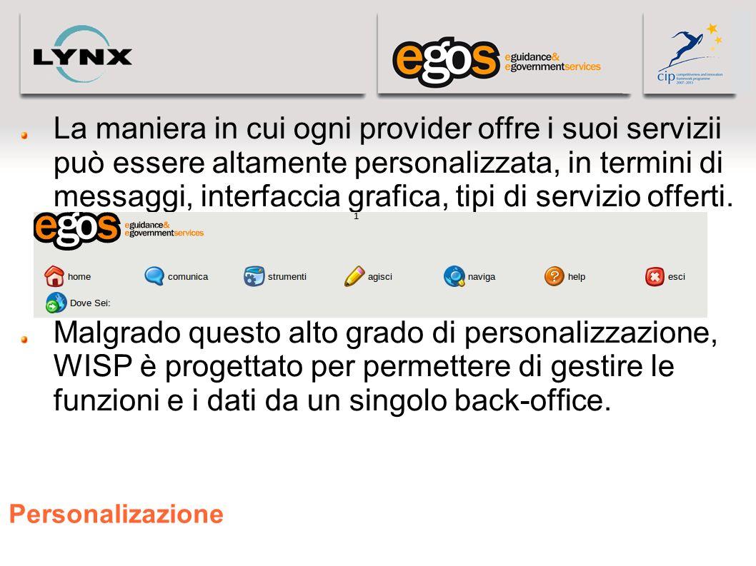 Personalizazione La maniera in cui ogni provider offre i suoi servizii può essere altamente personalizzata, in termini di messaggi, interfaccia grafic
