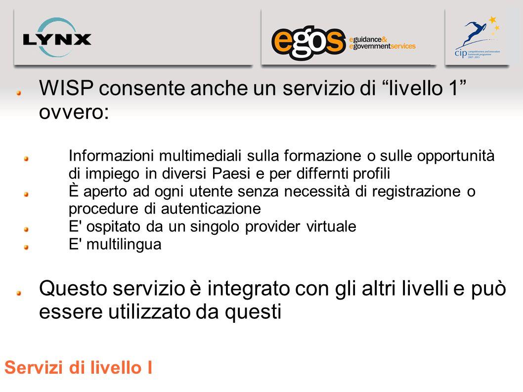 Servizi di livello I WISP consente anche un servizio di livello 1 ovvero: Informazioni multimediali sulla formazione o sulle opportunità di impiego in
