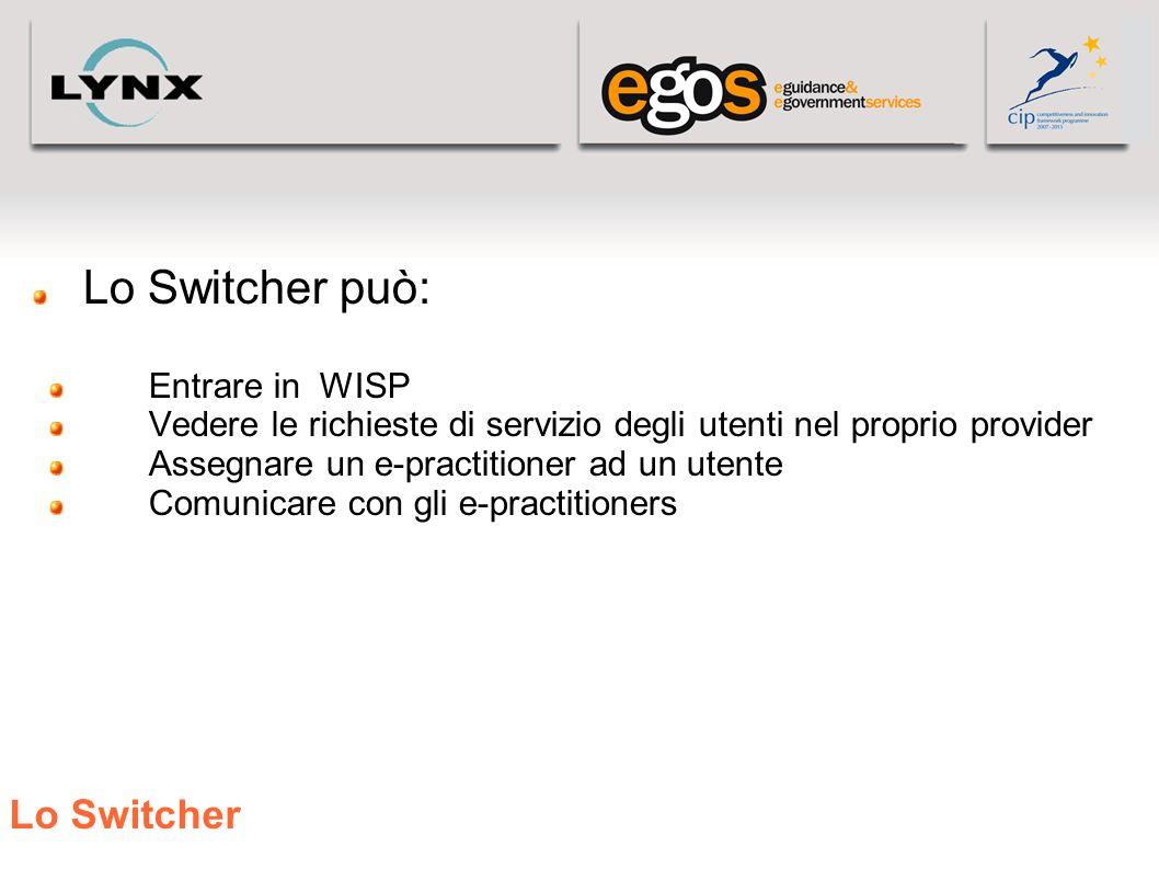 Lo Switcher Lo Switcher può: Entrare in WISP Vedere le richieste di servizio degli utenti nel proprio provider Assegnare un e-practitioner ad un utent