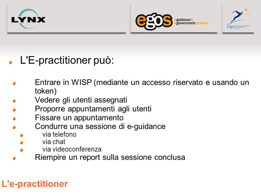 L'e-practitioner L'E-practitioner può: Entrare in WISP (mediante un accesso riservato e usando un token) Vedere gli utenti assegnati Proporre appuntam