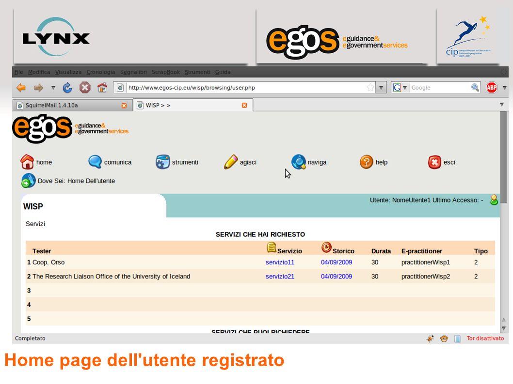 Home page dell'utente registrato