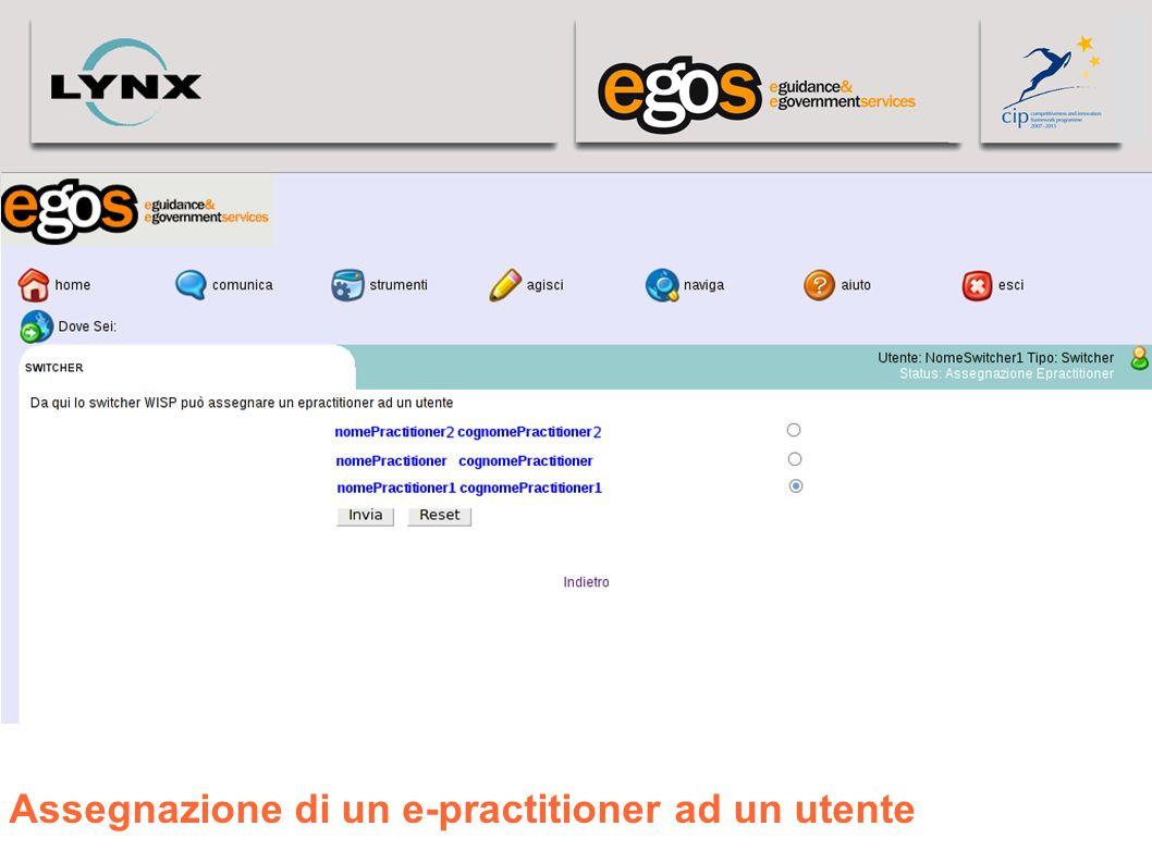 Assegnazione di un e-practitioner ad un utente