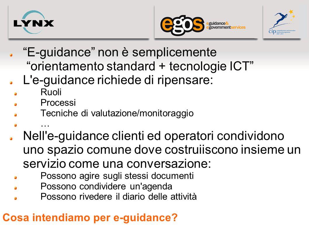 Cosa intendiamo per e-guidance? E-guidance non è semplicemente orientamento standard + tecnologie ICT L'e-guidance richiede di ripensare: Ruoli Proces