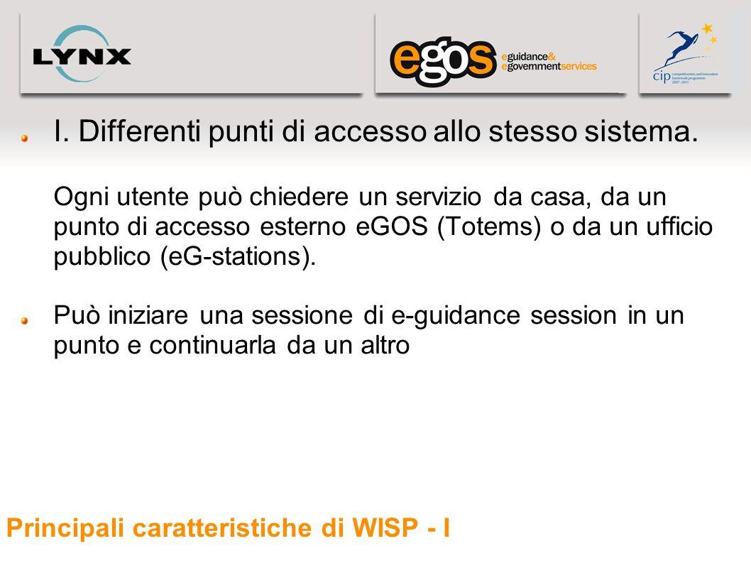 Principali caratteristiche di WISP - I I. Differenti punti di accesso allo stesso sistema. Ogni utente può chiedere un servizio da casa, da un punto d