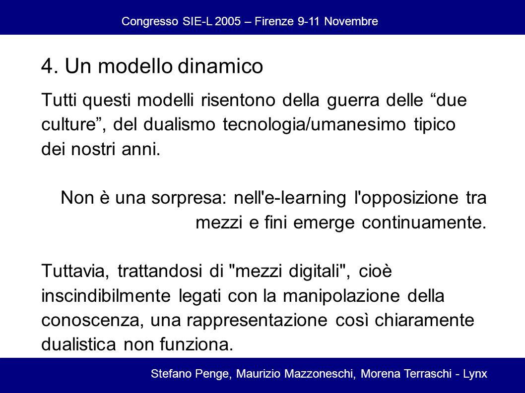 Congresso SIE-L 2005 – Firenze 9-11 Novembre Stefano Penge, Maurizio Mazzoneschi, Morena Terraschi - Lynx Tutti questi modelli risentono della guerra delle due culture, del dualismo tecnologia/umanesimo tipico dei nostri anni.