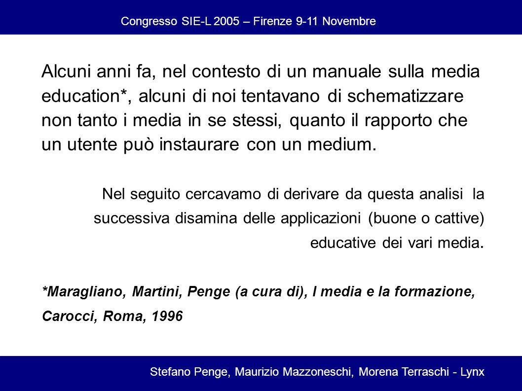 Congresso SIE-L 2005 – Firenze 9-11 Novembre Stefano Penge, Maurizio Mazzoneschi, Morena Terraschi - Lynx Alcuni anni fa, nel contesto di un manuale sulla media education*, alcuni di noi tentavano di schematizzare non tanto i media in se stessi, quanto il rapporto che un utente può instaurare con un medium.