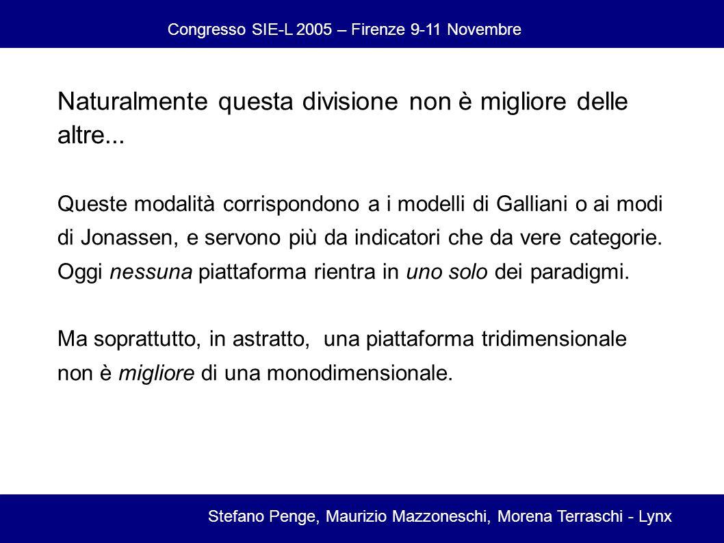Congresso SIE-L 2005 – Firenze 9-11 Novembre Stefano Penge, Maurizio Mazzoneschi, Morena Terraschi - Lynx Naturalmente questa divisione non è migliore delle altre...