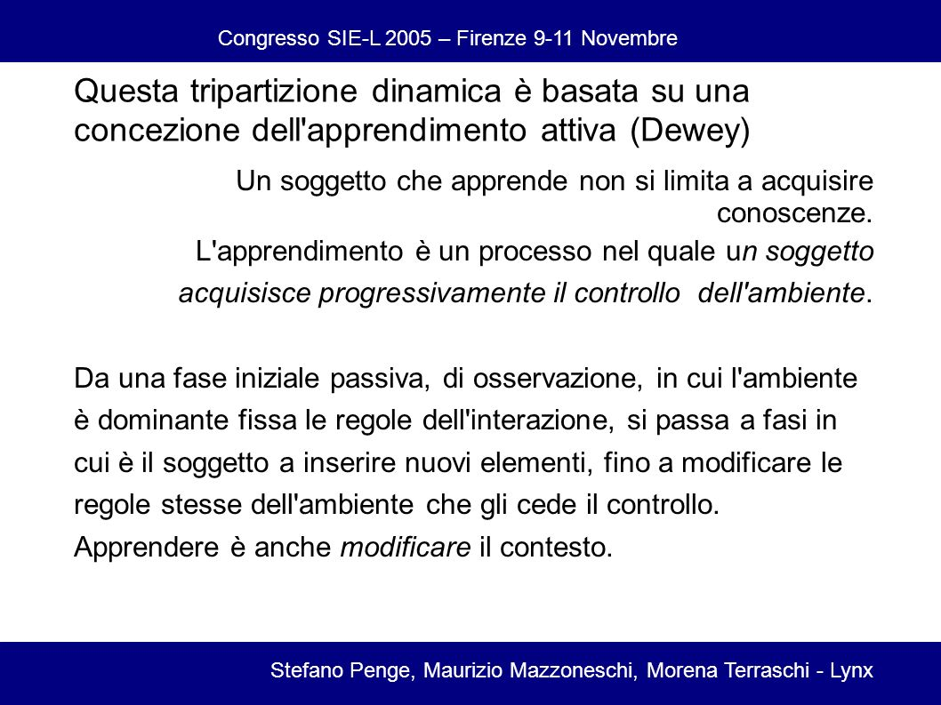 Congresso SIE-L 2005 – Firenze 9-11 Novembre Stefano Penge, Maurizio Mazzoneschi, Morena Terraschi - Lynx Un soggetto che apprende non si limita a acquisire conoscenze.