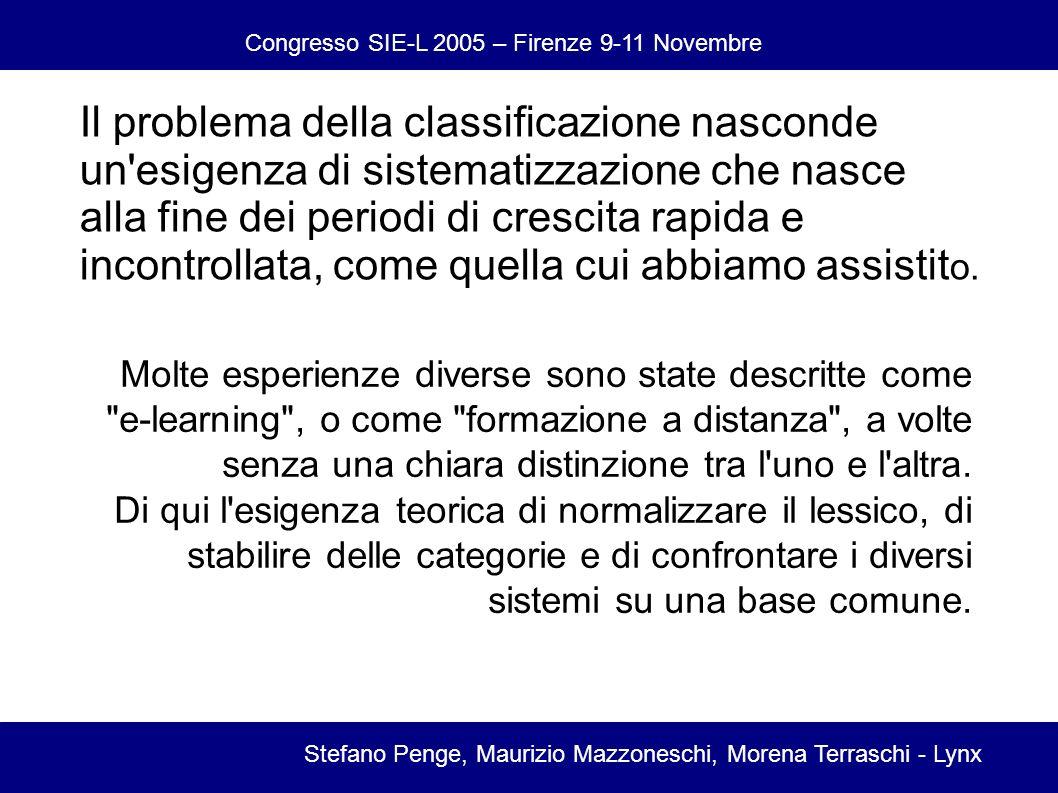 Congresso SIE-L 2005 – Firenze 9-11 Novembre Stefano Penge, Maurizio Mazzoneschi, Morena Terraschi - Lynx Il problema della classificazione nasconde un esigenza di sistematizzazione che nasce alla fine dei periodi di crescita rapida e incontrollata, come quella cui abbiamo assistit o.