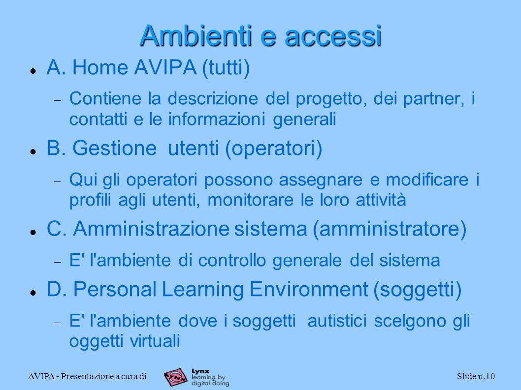 AVIPA - Presentazione a cura diSlide n.10 Ambienti e accessi A. Home AVIPA (tutti) Contiene la descrizione del progetto, dei partner, i contatti e le
