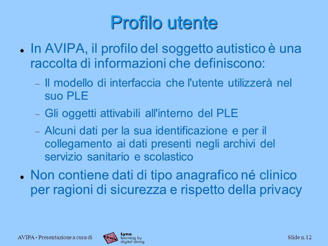 AVIPA - Presentazione a cura diSlide n.12 Profilo utente In AVIPA, il profilo del soggetto autistico è una raccolta di informazioni che definiscono: I