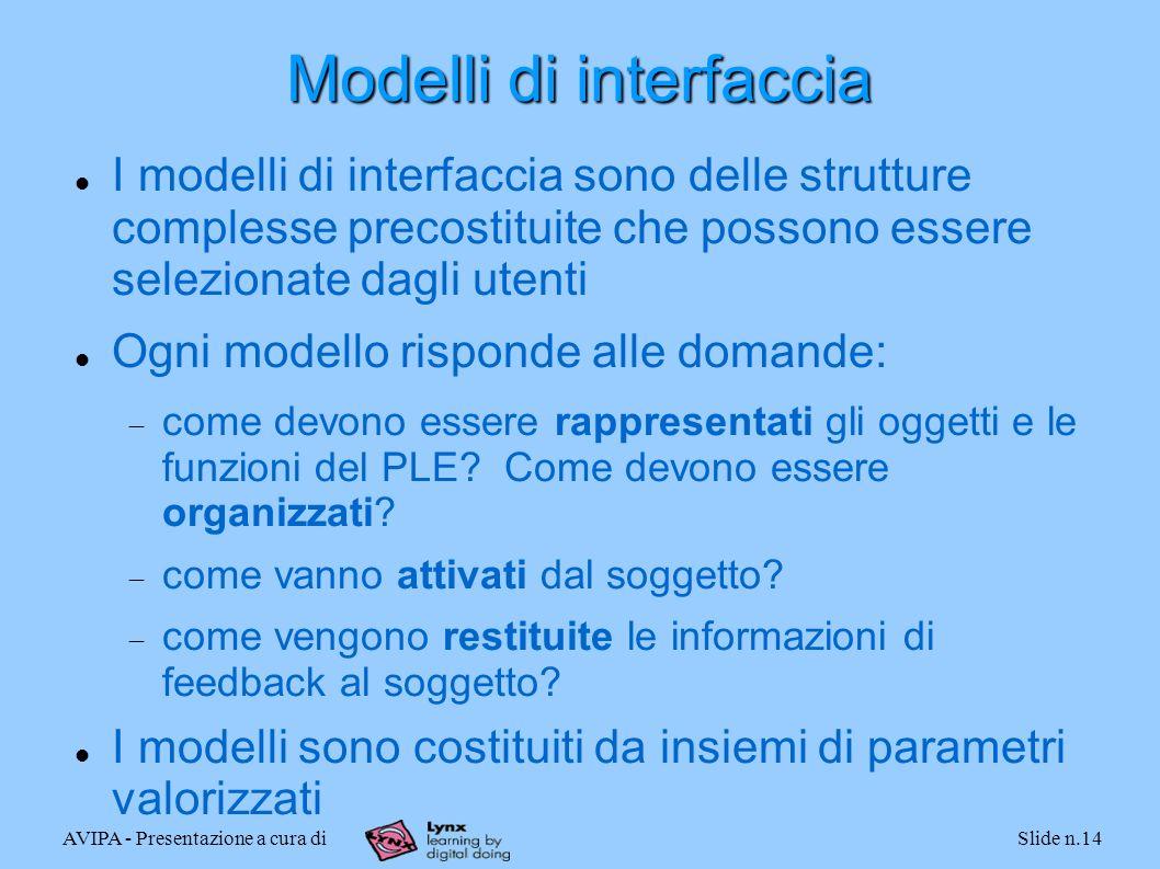 AVIPA - Presentazione a cura diSlide n.14 Modelli di interfaccia I modelli di interfaccia sono delle strutture complesse precostituite che possono essere selezionate dagli utenti Ogni modello risponde alle domande: come devono essere rappresentati gli oggetti e le funzioni del PLE.