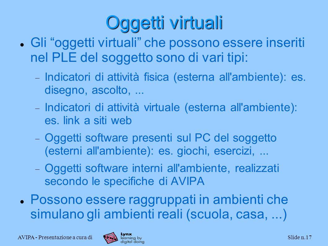 AVIPA - Presentazione a cura diSlide n.17 Oggetti virtuali Gli oggetti virtuali che possono essere inseriti nel PLE del soggetto sono di vari tipi: Indicatori di attività fisica (esterna all ambiente): es.