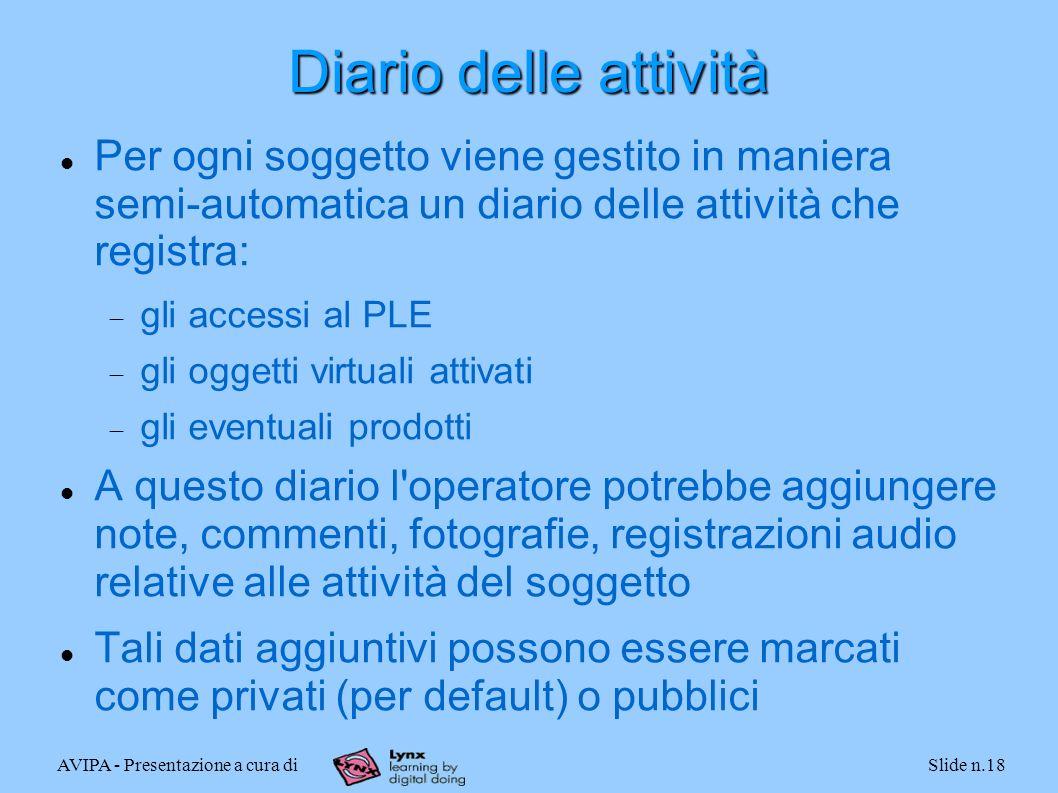 AVIPA - Presentazione a cura diSlide n.18 Diario delle attività Per ogni soggetto viene gestito in maniera semi-automatica un diario delle attività ch
