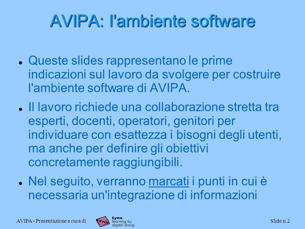 AVIPA - Presentazione a cura diSlide n.2 AVIPA: l ambiente software Queste slides rappresentano le prime indicazioni sul lavoro da svolgere per costruire l ambiente software di AVIPA.