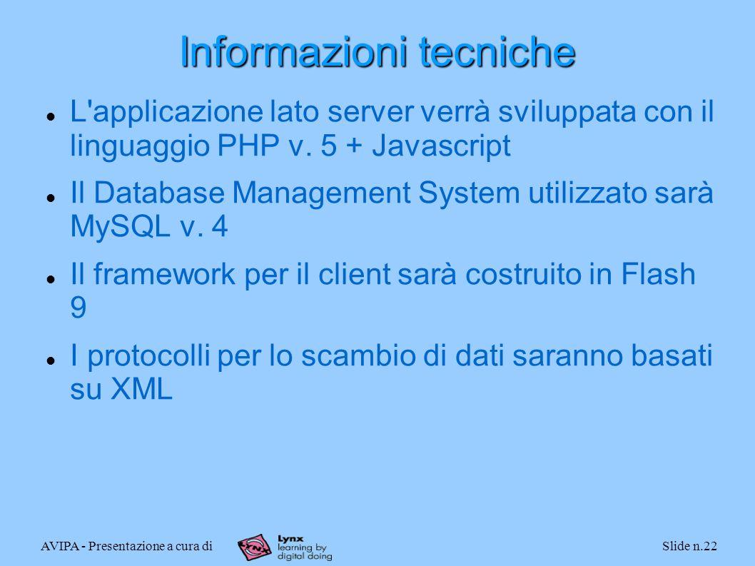 AVIPA - Presentazione a cura diSlide n.22 Informazioni tecniche L'applicazione lato server verrà sviluppata con il linguaggio PHP v. 5 + Javascript Il