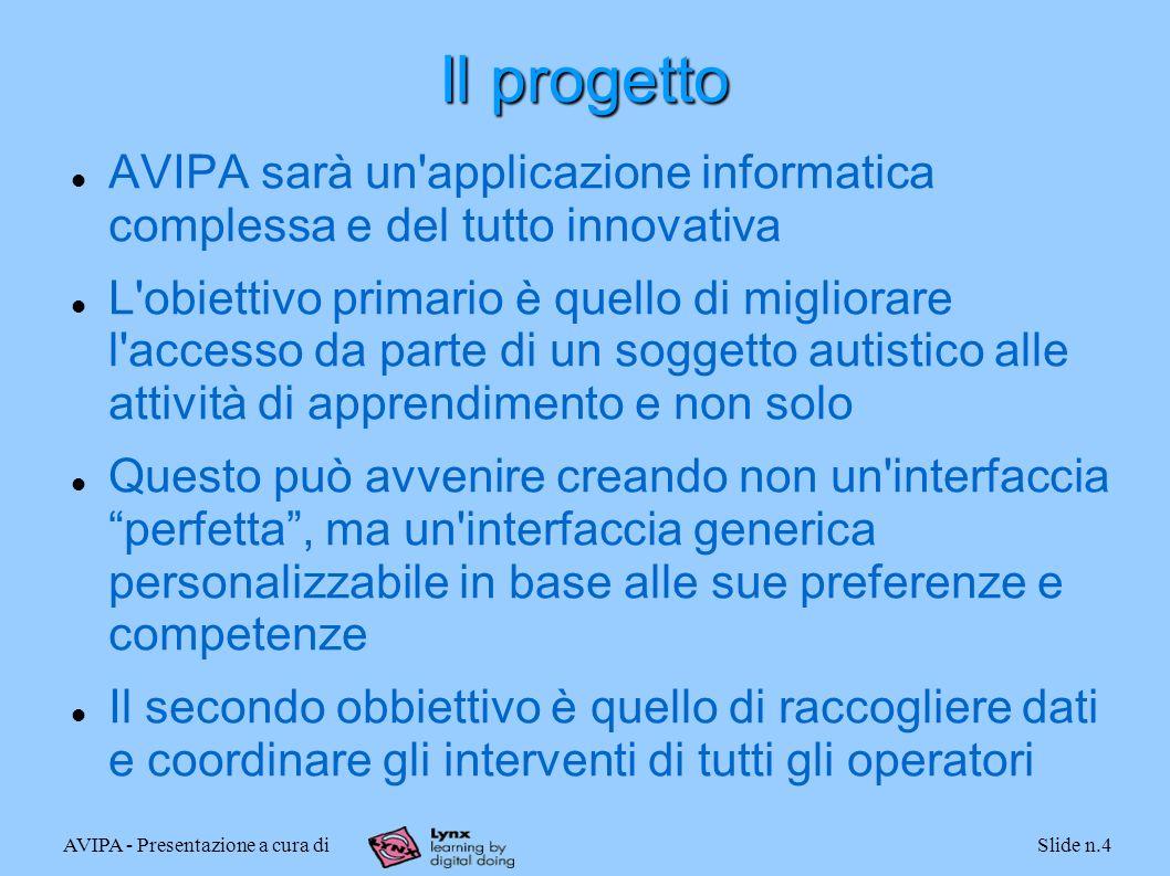 AVIPA - Presentazione a cura diSlide n.4 Il progetto AVIPA sarà un'applicazione informatica complessa e del tutto innovativa L'obiettivo primario è qu