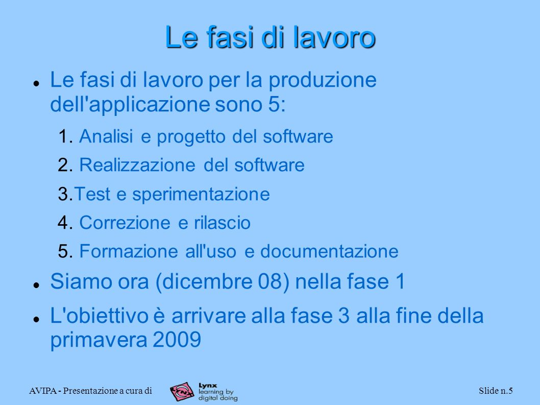 AVIPA - Presentazione a cura diSlide n.5 Le fasi di lavoro Le fasi di lavoro per la produzione dell'applicazione sono 5: 1. Analisi e progetto del sof