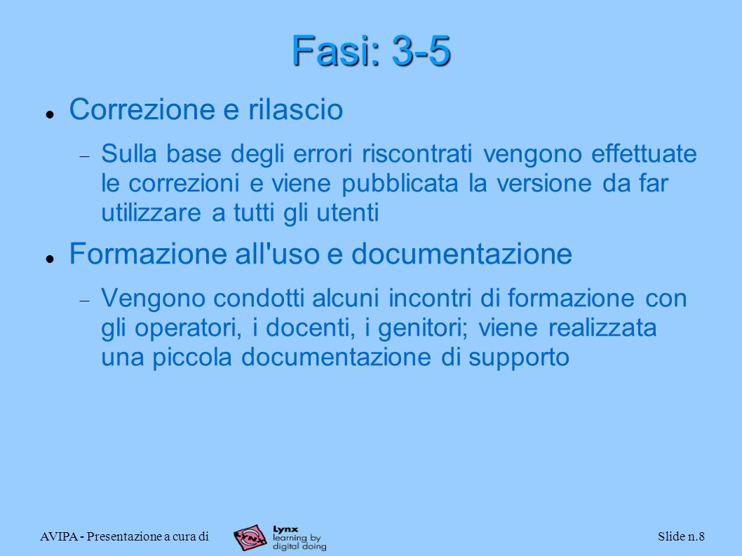 AVIPA - Presentazione a cura diSlide n.8 Fasi: 3-5 Correzione e rilascio Sulla base degli errori riscontrati vengono effettuate le correzioni e viene
