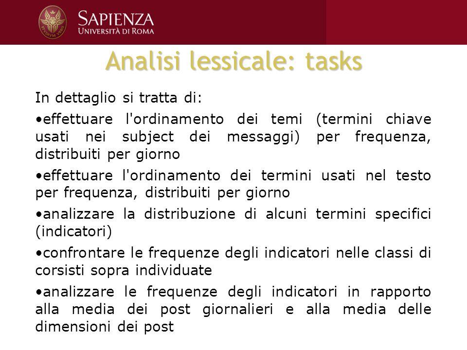 Analisi lessicale: tasks In dettaglio si tratta di: effettuare l'ordinamento dei temi (termini chiave usati nei subject dei messaggi) per frequenza, d