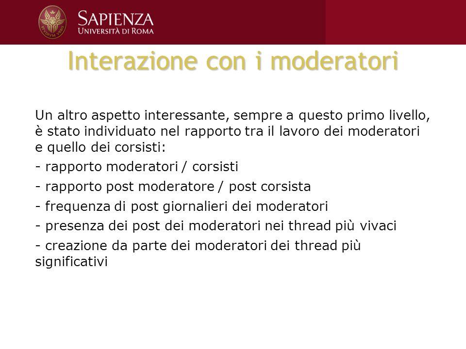 Interazione con i moderatori Un altro aspetto interessante, sempre a questo primo livello, è stato individuato nel rapporto tra il lavoro dei moderato