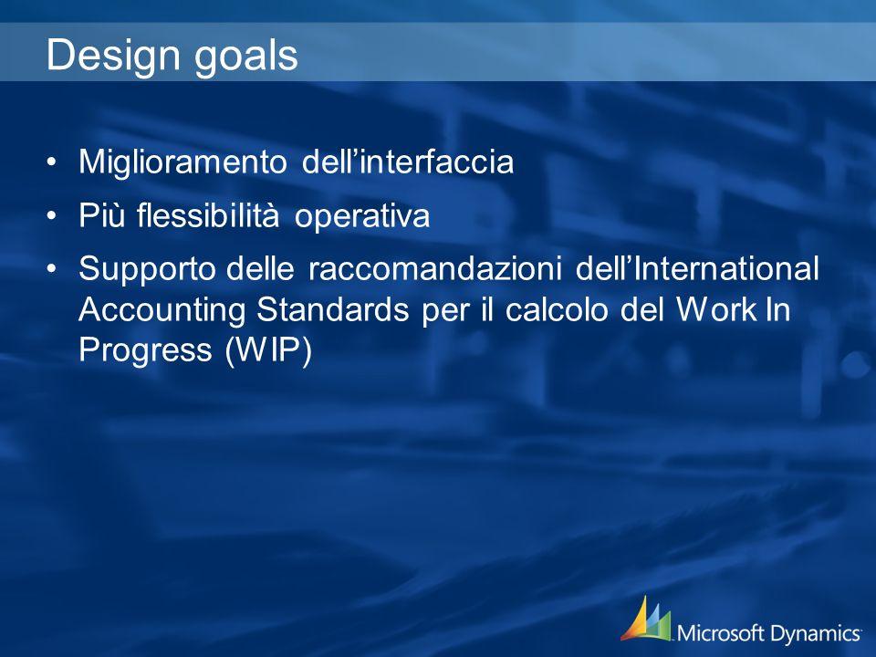 Design goals Miglioramento dellinterfaccia Più flessibilità operativa Supporto delle raccomandazioni dellInternational Accounting Standards per il calcolo del Work In Progress (WIP)