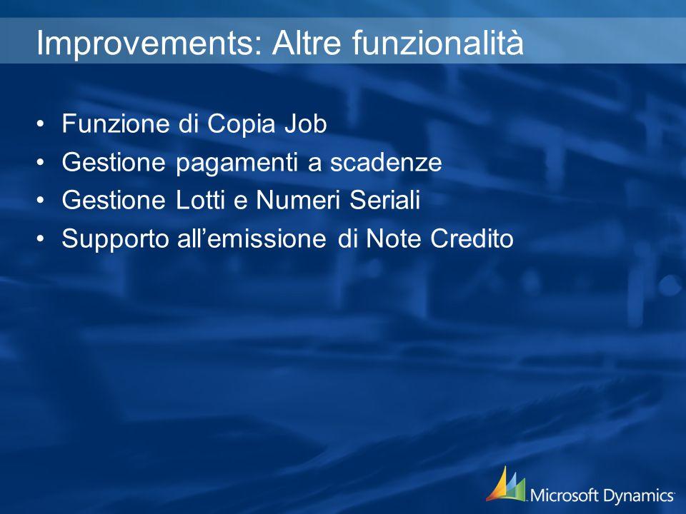 Improvements: Altre funzionalità Funzione di Copia Job Gestione pagamenti a scadenze Gestione Lotti e Numeri Seriali Supporto allemissione di Note Credito