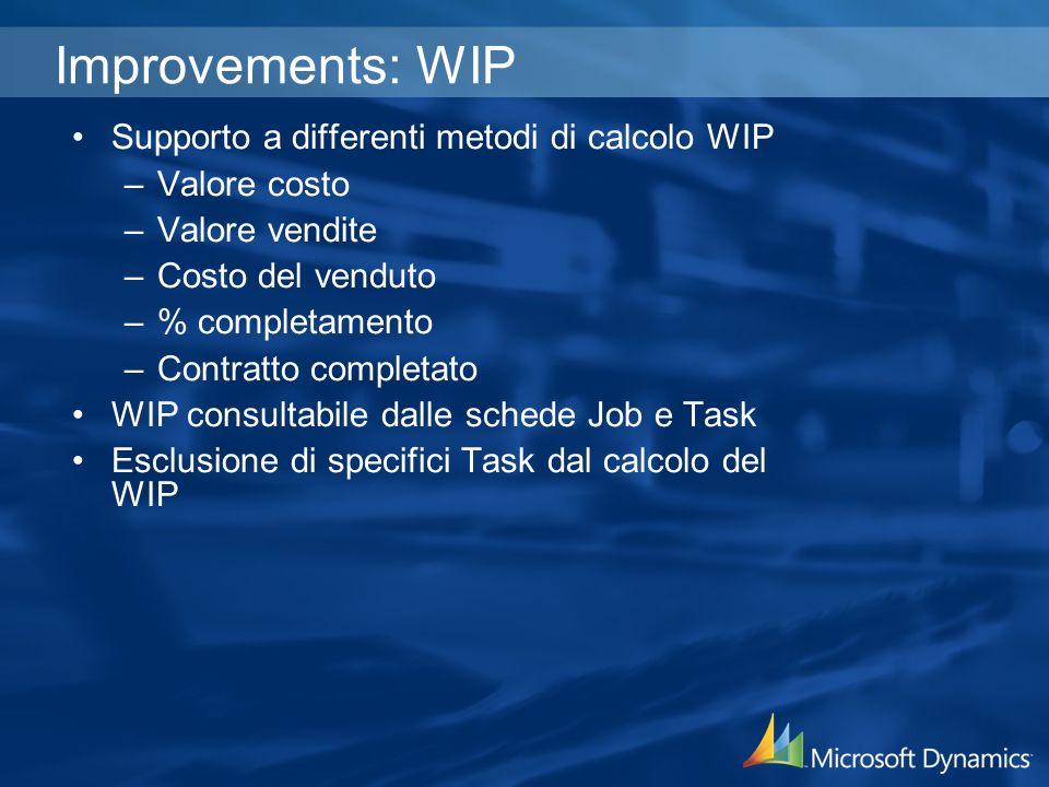 Improvements: WIP Supporto a differenti metodi di calcolo WIP –Valore costo –Valore vendite –Costo del venduto –% completamento –Contratto completato WIP consultabile dalle schede Job e Task Esclusione di specifici Task dal calcolo del WIP