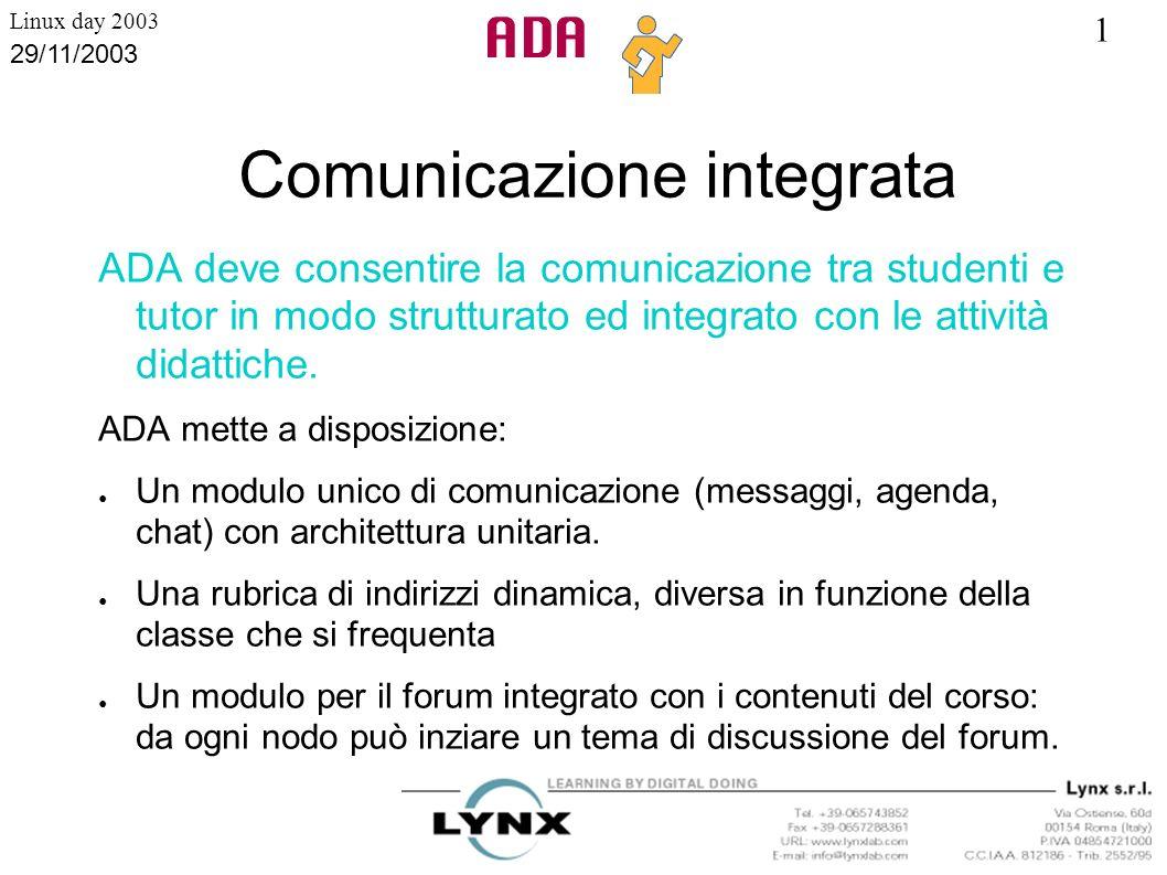 1 Linux day 2003 29/11/2003 Comunicazione integrata ADA deve consentire la comunicazione tra studenti e tutor in modo strutturato ed integrato con le