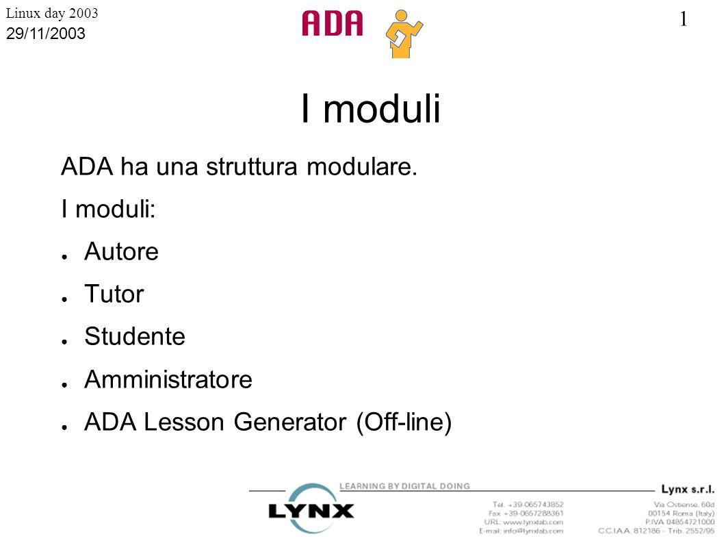 1 Linux day 2003 29/11/2003 I moduli ADA ha una struttura modulare. I moduli: Autore Tutor Studente Amministratore ADA Lesson Generator (Off-line)