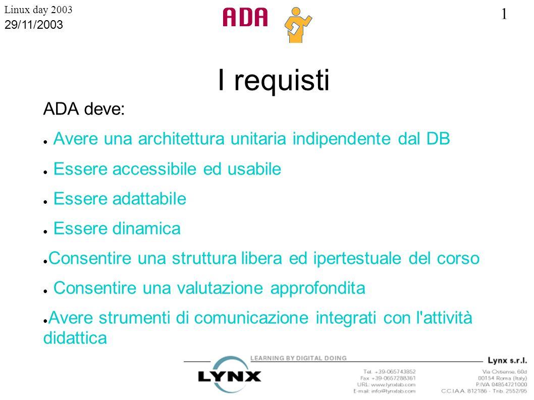 1 Linux day 2003 29/11/2003 Architettura indipendente dal DB ADA deve essere scritta interamente in un solo linguaggio, poggiare su un qualsiasi DataBase SQL, avere un architettura e uno stile unitari.