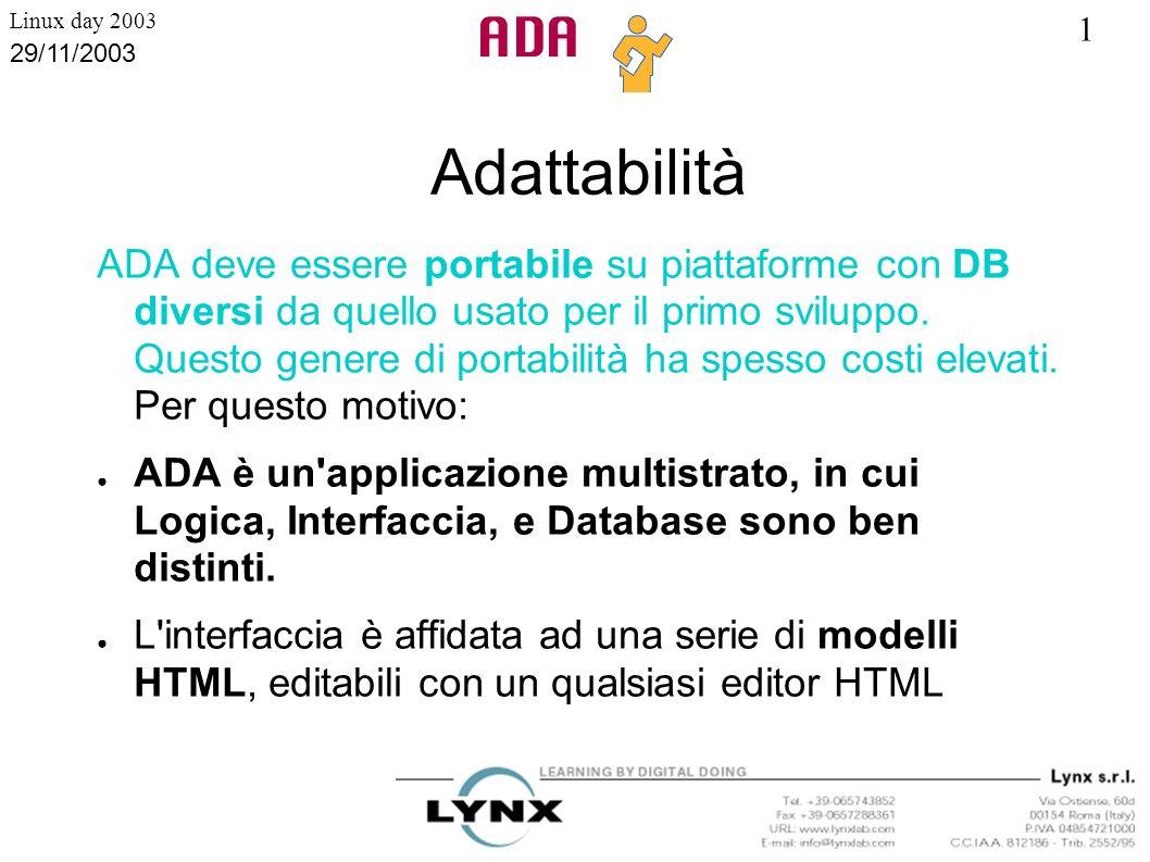1 Linux day 2003 29/11/2003 Adattabilità ADA deve essere portabile su piattaforme con DB diversi da quello usato per il primo sviluppo. Questo genere