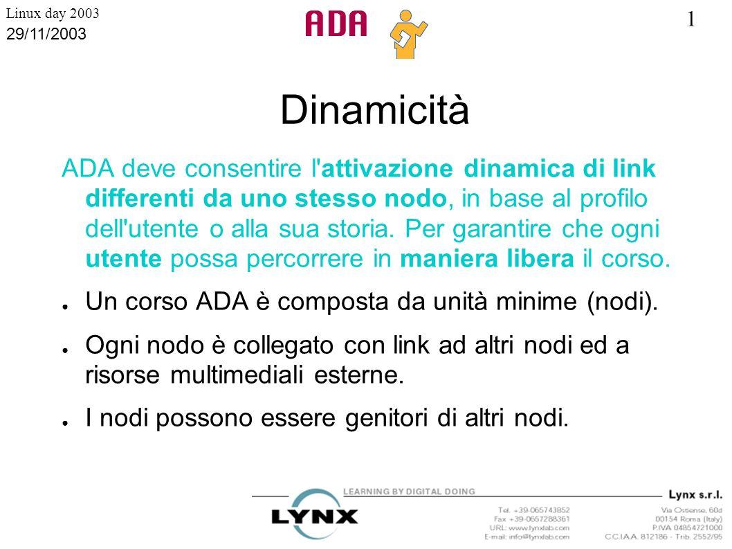 1 Linux day 2003 29/11/2003 Corsi Ipertestuali ADA deve permettere la creazione di corsi con struttura reticolare, senza limitazioni nel numero di livelli o di diramazioni possibili a partire da ogni unità.