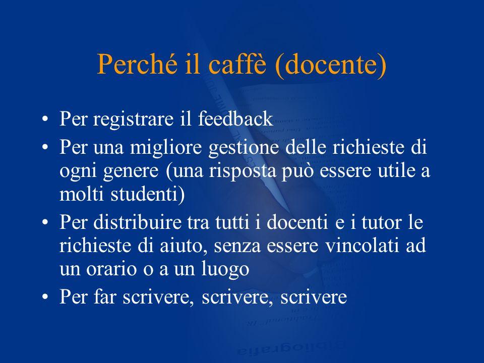 Perché il caffè (docente) Per registrare il feedback Per una migliore gestione delle richieste di ogni genere (una risposta può essere utile a molti s