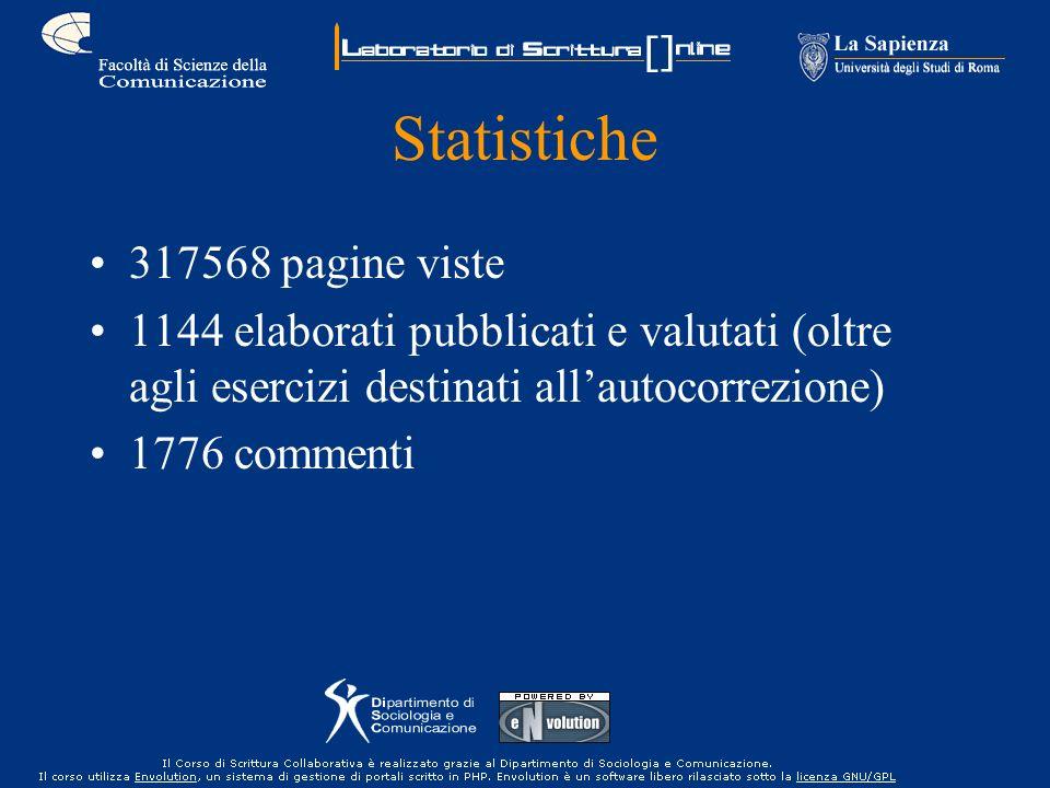 Statistiche 317568 pagine viste 1144 elaborati pubblicati e valutati (oltre agli esercizi destinati allautocorrezione) 1776 commenti