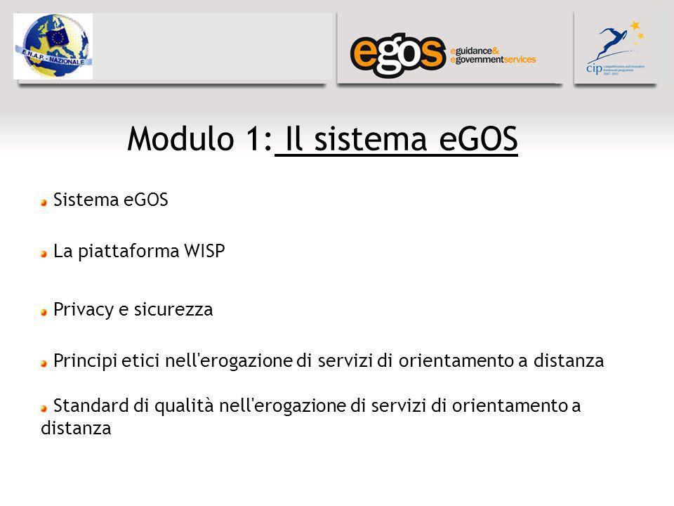 Modulo 1: Il sistema eGOS Sistema eGOS La piattaforma WISP Privacy e sicurezza Principi etici nell erogazione di servizi di orientamento a distanza Standard di qualità nell erogazione di servizi di orientamento a distanza